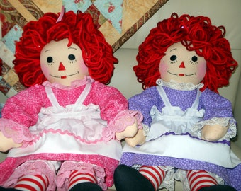 20 Inch Raggedy Ann or Andy Doll Handmade - Custom Order - Looped Hair - Personalization available in the Options