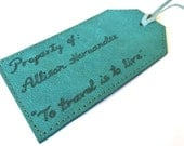 Personalised Leather Luggage Tag, Teal