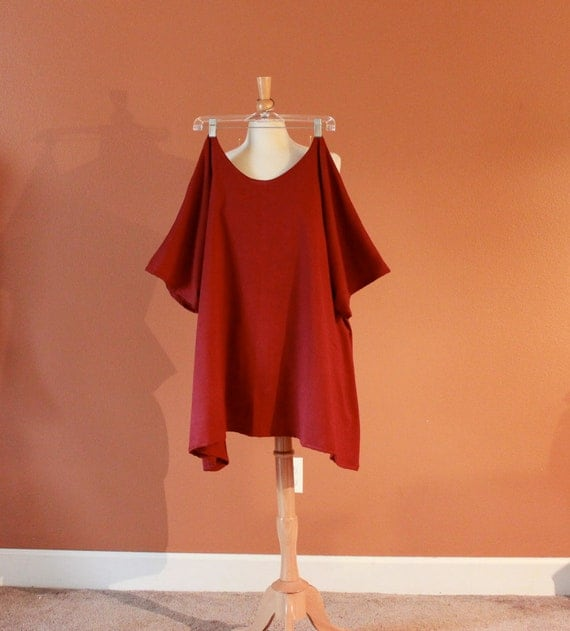 ready to ship  plus size burgundy cotton simplicity kimono sleeve wavy top