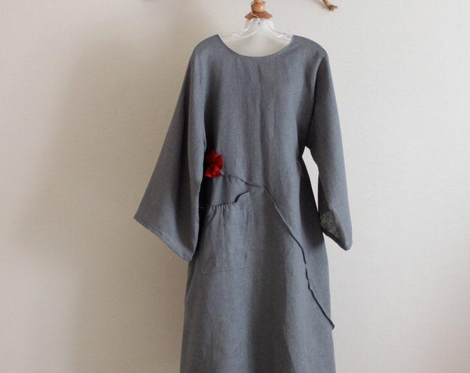 plus size custom fit pleated flower long linen dress / dress for women / plus size comfy dress / petite dress / gray linen dress / flowers