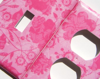 Pink Flowers Light Switch Cover Outlet Cover Switchplate