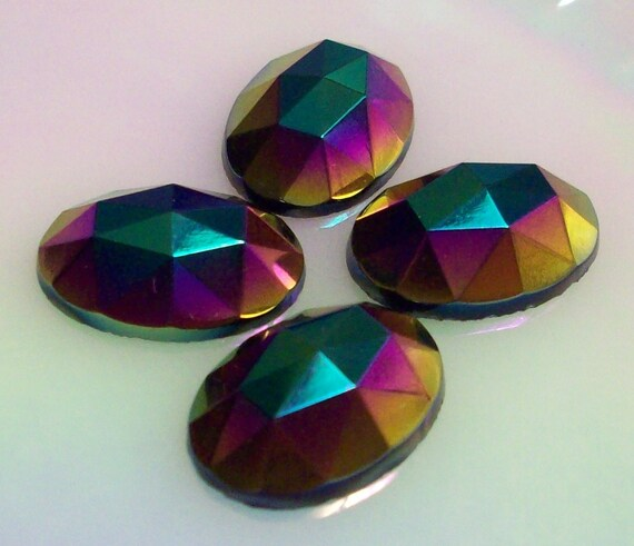 One 18x13mm Jet AB Flatback Cabochon With The Same Colors As Black Carnival Glass