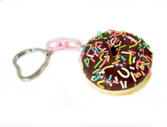 Donut Keychain Doughnut Sprinkled Squishy Fake Food Key Chain