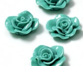 CLOSING SHOP - 25 - Last Ones - 25 - Aqua Flower Cabs Cabochons 30mm in diameter  B764