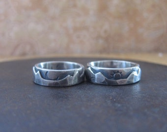 his and hers custom rugged wedding bands, silver