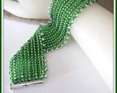 Herringbone Bracelet, Beaded, Beadwoven, 7 inch Green Bracelet, Body Jewelry, Jewelry Accessories,  Item     #859