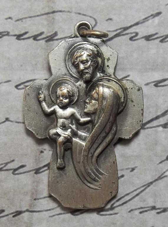 VERY RARE Mid Century American Holy Family, Jesus Mary & Joseph 7 Years Indulgence Catholic Religious Medal