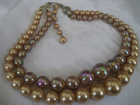 VINTAGE Graduated Double Strand Iridescent & gold Bead Costume Jewelry Necklace