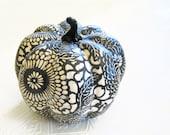 Pumpkin Ornament, Squash Ornament, Halloween Ornament, decoupage pumpkin, black and white, mums fall autumn thanksgiving