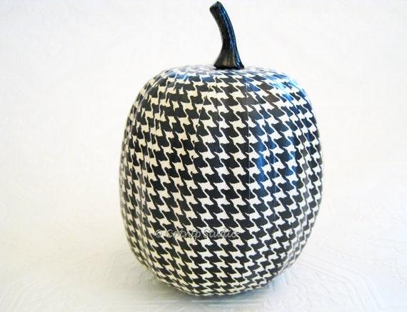 Pumpkin Ornament, Squash Ornament, Halloween Ornament, decoupage ornament, black and white, fall autumn thanksgiving