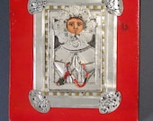Hand Painted Icon retablo of San Fleur With Hand Chased Metal by Michael W. Moses