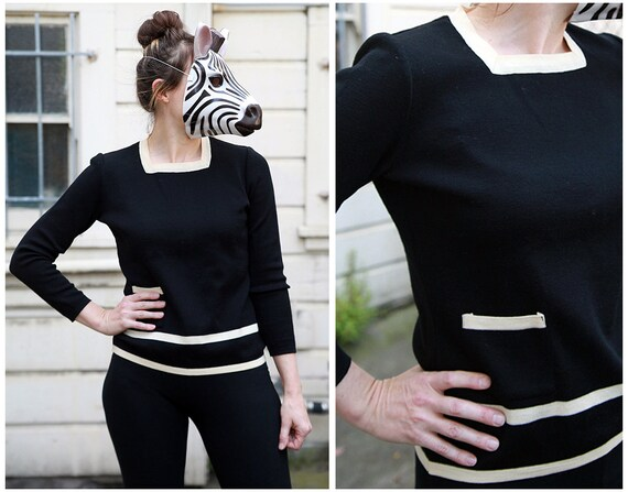 Vintage 60s Preppy Striped Wool Sweater with a Pocket in Black and Cream - sz M