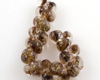 10 Glitter Caramel Teardrop Handmade Lampwork Beads - 13mm (22127)