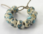 Rustic Polka Dots - 11 Handmade Lampwork Spacer Rock Beads Ivory Turquoise