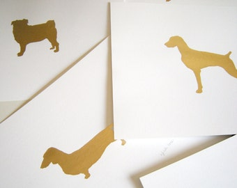 Gilded Any of our Dog breeds 8x10 Mod Dog Art Print - Metallic Gold Leaf Silhouette on White Background