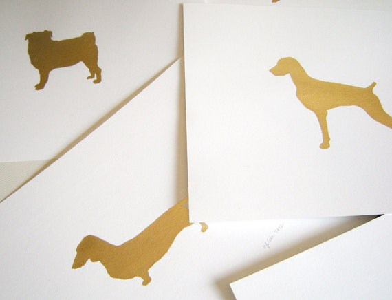 Gilded Mod Dog Print 8x10 Your Choice of Mod Dog Design - Gold Leaf Silhouette on White Background - Metallic Gold or Silver