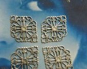 Silver Ox Plated Brass Filigree Connectors 2111SOX x4