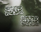 Sterling Silver Oxidized Plated Floral Filigree Stampings 1002SOX x2