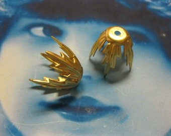 Raw Brass  Bead Caps 2108RAW x4