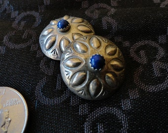 Vintage Sterling Silver Lapis Clip Earrings Signed
