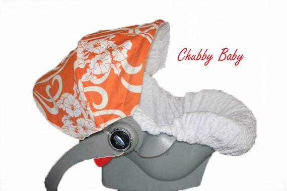 Infant Car Seat Cover, Baby Car Seat Cover in Orange and White Damask