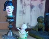 Vintage Figural Liquor Wine Bottle Stopper Handpainted Ceramic