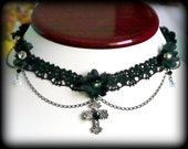black lace choker with black flowers and cross