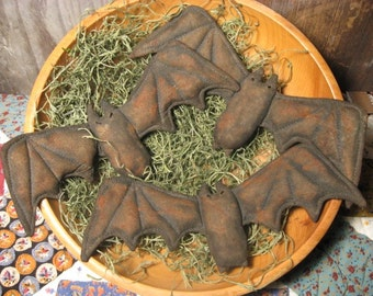 EPATTERN -- Primitive Halloween Bats Tucks Ornies Bowl Fillers