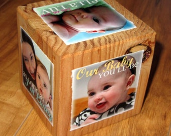 Grandparent's Day Photo Gift- Personalized PHoTO CuBE for GRANDMA- recycled barn posts- limited quantity