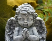 Garden Angel - Baby Cherub Sculpture - Concrete Garden Art