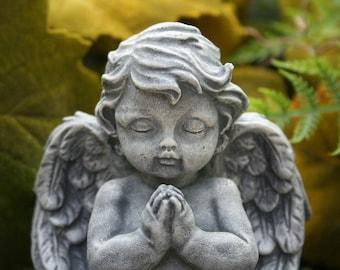 Garden Angel - Baby Cherub Sculpture - Concrete Garden Art