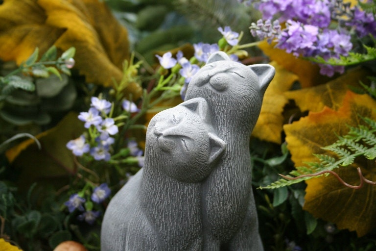 cat statue  etsy, bronze cat sculpture garden decor, cat garden decor, cat themed garden decor