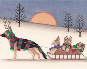 German shepherd as Rudolph taking family for sled ride / Lynch signed folk art print