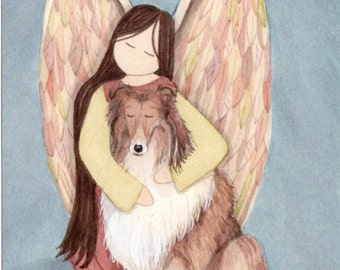 Collie cradled by angel / Lynch signed folk art print