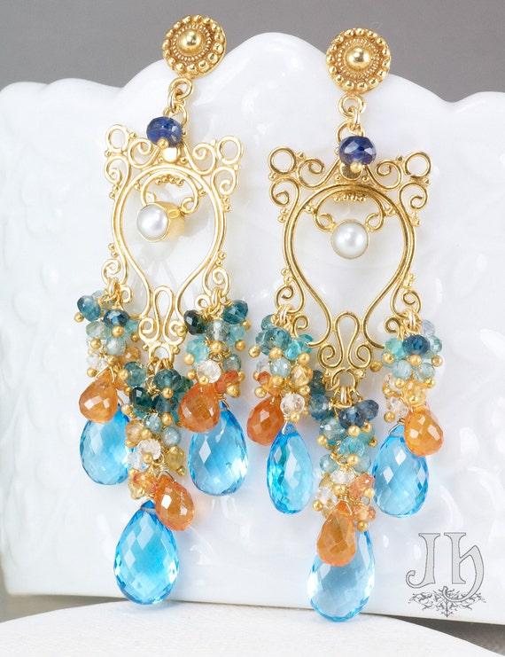 Medusa earrings ... Swiss Blue Topaz, Blue Tourmaline, Yellow Sapphire, Mandarin Garnet, 24k Gold Vermeil