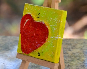 Small Textured Heart Art original Painting with stand