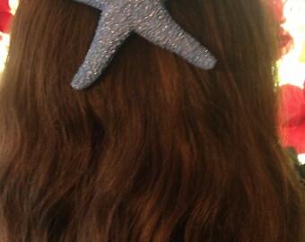Starfish, ocean, Beach wedding, tropical wedding, bridal, starfish barrette, starfish hair clip, fish, ocean clip,mermaid,blue, blue star
