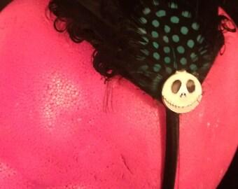 Black, Black fascinator, jack, black feather,nbc, hair, head band, hair fascinator, pin up, black holiday headband, holiday party, party