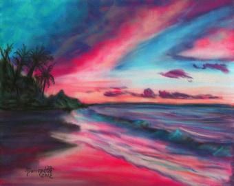 sunrise art prints, 8x10 giclee print, colorful sunrise paintings, kauai beach art, hawaiian artwork, seascape wall art, kauai art galleries