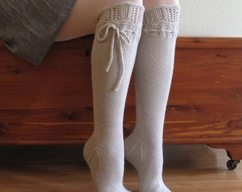 Knee High Socks Silver Lace Merino Cashmere Wool