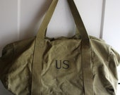 vintage canvas US military duffle bag