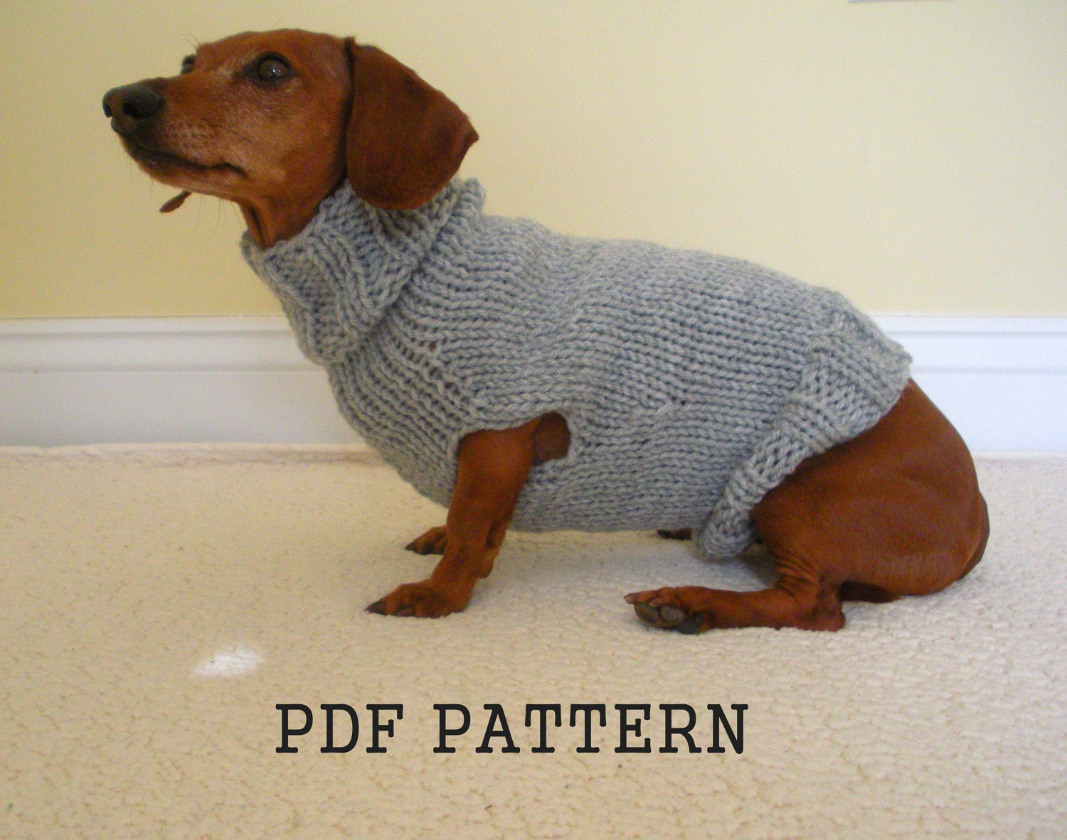 Knitting Patterns For Dachshund Dog Sweaters : Sweater Pattern for Mini Daschaunds Doxie Dachshund Knitted