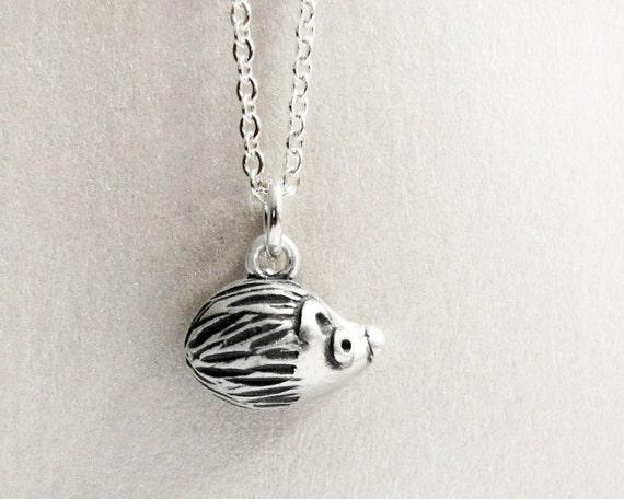 Necklace - very tiny silver hedgehog jewelry