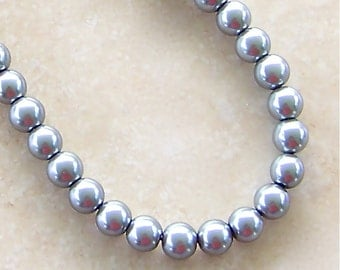 8mm Grey Pearl Strand Classic Style Necklace