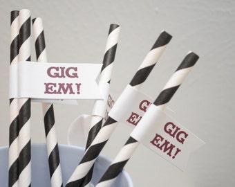 GIG Em - Texas A & M University Paper Drink Straw Flags- Set of 12