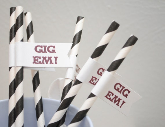 GIG Em - Texas A & M University Paper Drink Straw Flags- Set of 12