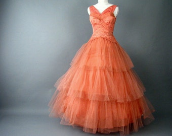 Vintage 1950's Salmon Tulle Ruffles and Lace Prom Party Dress, Size 2, Extra Small