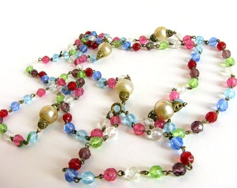 Colorful Crystal and Pearl Vintage Necklace