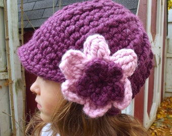 Toddler Girl Hat 1T to 2T Purple Plum Toddler Hat Purple Toddler Hat Crochet Flower Hat Toddler Winter Hat Trendy Winter Beanie Warm