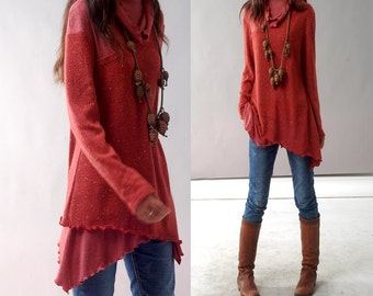 Face - layered woolen tunic dress / cowl neck tunic / deconstructed knit tunic / rust tunic dress / fall and winter sweater dress(Y1221)